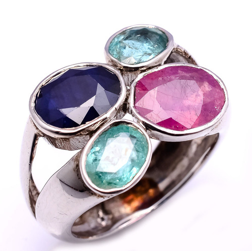 925 sterling silver Ruby,Emerald,Sapphire Gemstone Ring