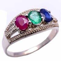 925 sterling silver Ruby,Emerald,Sapphire Gemstone Ring