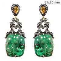 Sapphire Emerald Diamond Gold Earrings