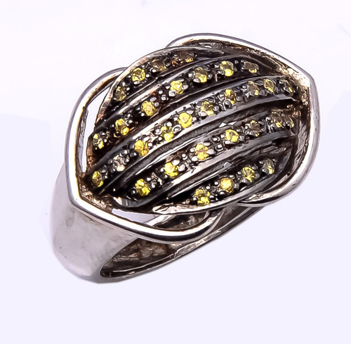 925 Sterling silver yellow sapphire Ring