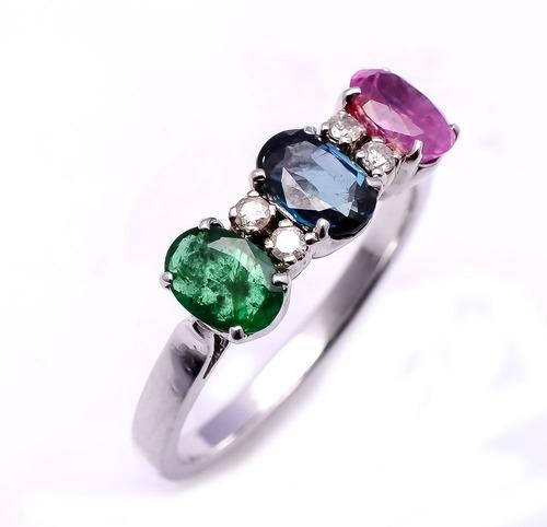 925 sterling silver Ruby,Emerald,Sapphire & Diamond Gemstone Ring