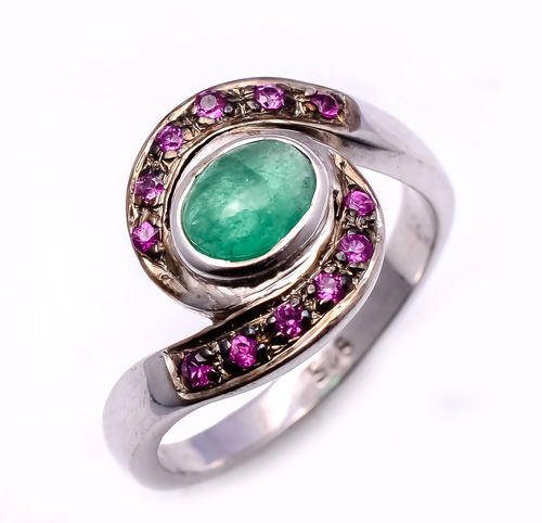 925 sterling silver Ruby & Emerald Gemstone Ring