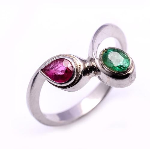 925 sterling silver Ruby & Emerald Gemstone Ring