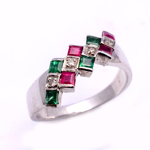 925 sterling silver Ruby,Emerald & Diamond Gemstone Ring