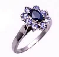 925 Sterling silver Blue Sapphire & Tanzanite Gemstone Ring