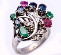 925 Sterling Silver Ruby, Emerald, Sapphire & Diamond Gemstone Ring
