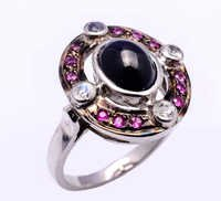 925 Sterling Silver Blue Sapphire, Ruby. & Diamond Gemstone Ring