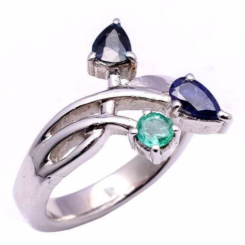 925 Sterling Silver Blue Sapphire & Emerald Gemstone Ring