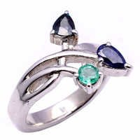 925 Sterling Silver Blue Sapphire & Emerald Gemstone Ring