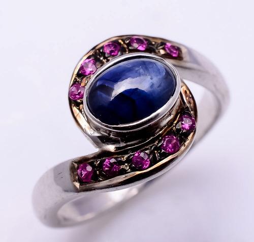 925 Sterling Silver Blue Sapphire & Ruby Gemstone Ring