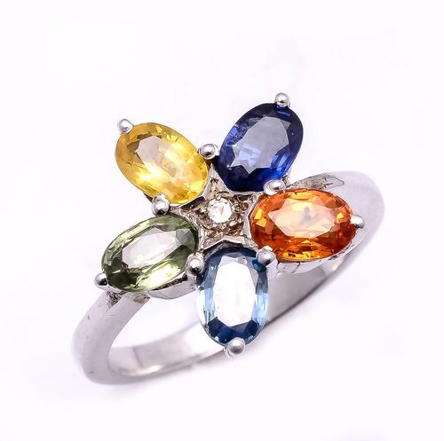 925 Sterling silver Multi Sapphire Gemstone Ring