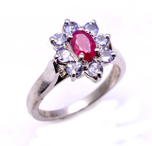 925 Sterling Silver Ruby & Tanzanite Gemstone Ring