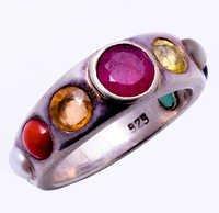 925 Sterling Silver Navratna(Nine Gems) Gemstone Ring