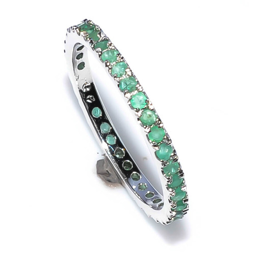 925 Sterling silver Emerald gemstone Ring Band