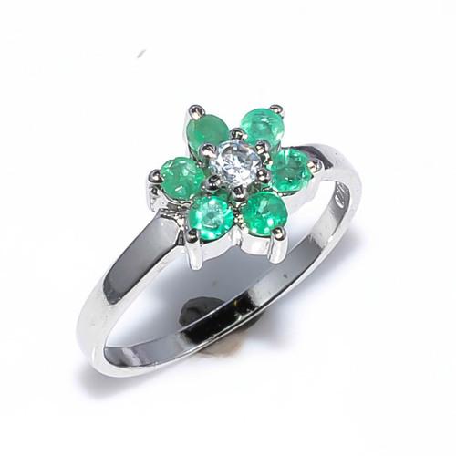 925 Sterling silver emerald & CZ gemstone ring