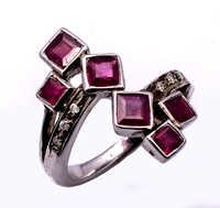 925 Sterling silver Ruby & Diamond Gemstone Ring