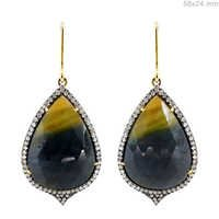 Pave Diamond Multi Sapphire Gold Earrings