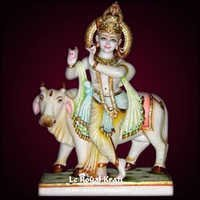 Marble Krishna With Cow