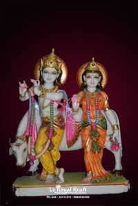 Marble Radha Krishna with Cow