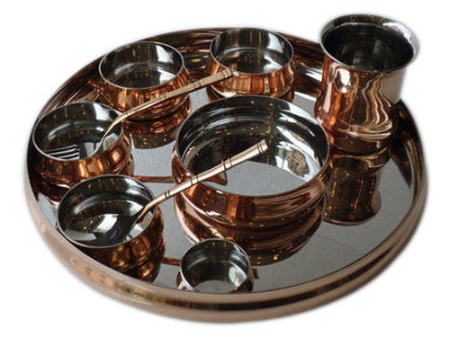 Steel Copper Curved Thali Set
