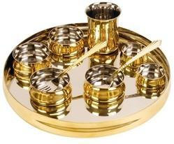 Curved Brass Steel Thali Set