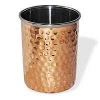 Copper steel hammered glass