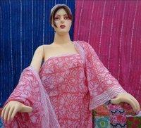 Pink Matching Block Print Cotton Sarong Handmade