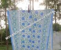 TULIP BLUE FLOWER BLOCK PRINT SARONG