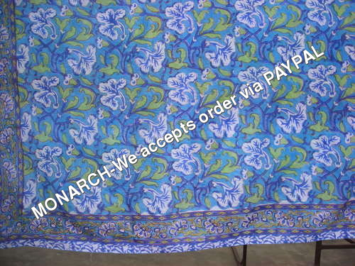 Blue Flower 100% Cotton Hand Block Print Fabric