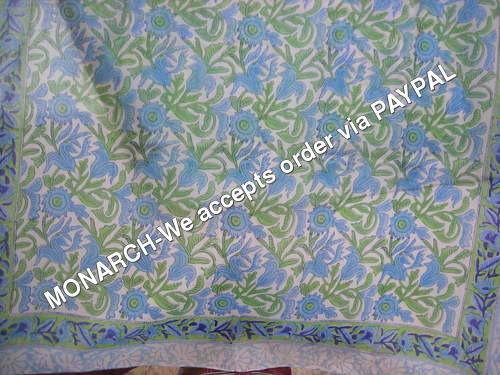 3 color Blue Flower Hand Block Print Fabric