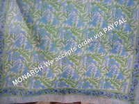 3 color Blue Flower Hand Block Print Fabric