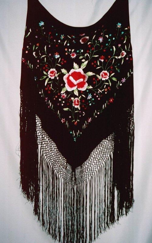 Hand Embroidered Spanish Silk Flamenco Piano Shawl
