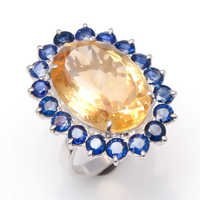 925 sterling silver golden topaz & Sapphire ring