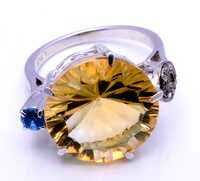 925 sterling silver golden topaz,Blue Topaz & Diamond ring