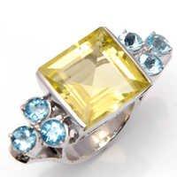 925 sterling silver Lemon topaz & Blue topaz ring