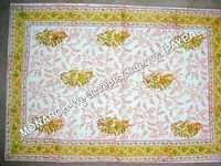 YELLOW MUGHAL PRINT TABLE COVER