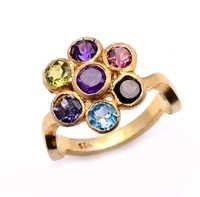 925 Sterling Silver Multi Semi-Precious Gemstone Ring