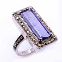925 Sterling silver Water Sapphire & Diamond Gemstone Ring