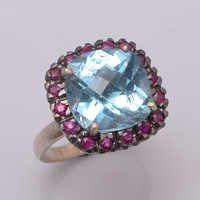 925 Sterling silver Blue Topaz & Ruby gemstone Ring
