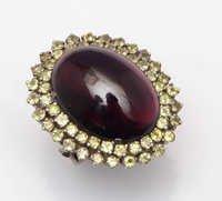 925 sterling silver Garnet & lemon topaz Gemstone ring