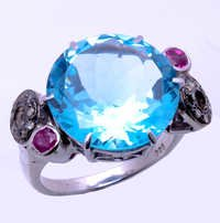 925 sterling silver Blue topaz , Ruby & Diamond Gemstone ring