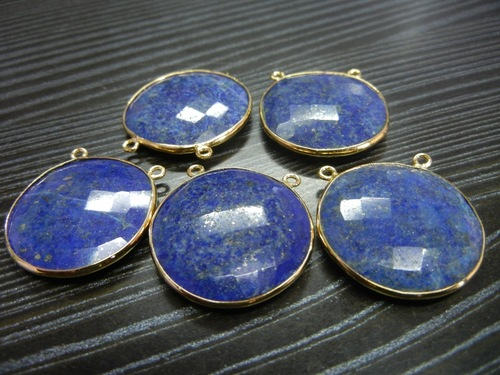 30 Piece Lot Of Lapis Bezel Gemstone Connectors