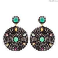 Emerald Multi Sapphire Diamond Gold Earrings
