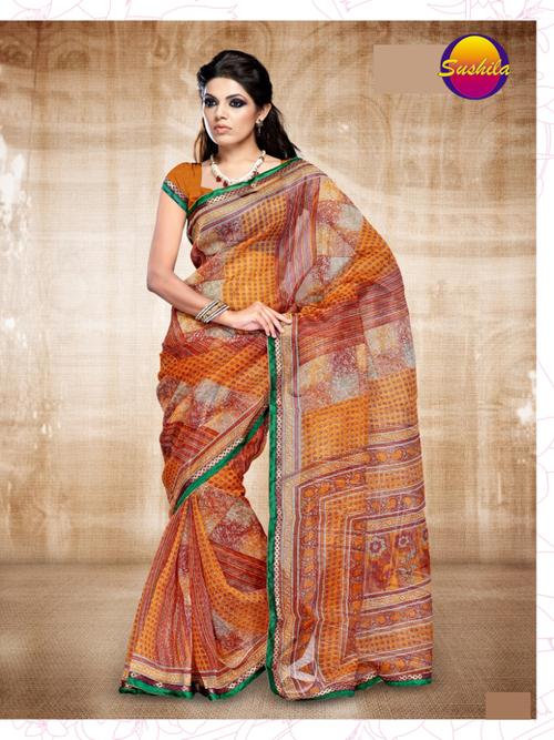 Rainbow Printed Sari