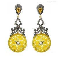 Yellow Sapphire Jade Carving Diamond Gold Earrings
