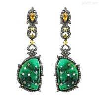 Emerald Yellow Sapphire Diamond Gold Earrings