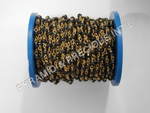 Selling per meter Black Spinal Beaded Chain