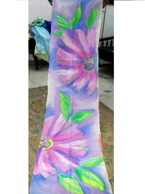 Hand brush paintings in silk scarfs