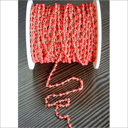 Syn.Red Coral Beaded Chain Selling Per Meter