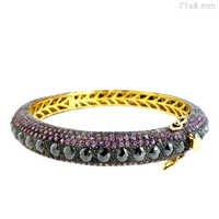 Pink Sapphire Diamond Gold Bangle